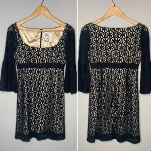 Milly Crochet Lace Bell Sleeve Mini Dress